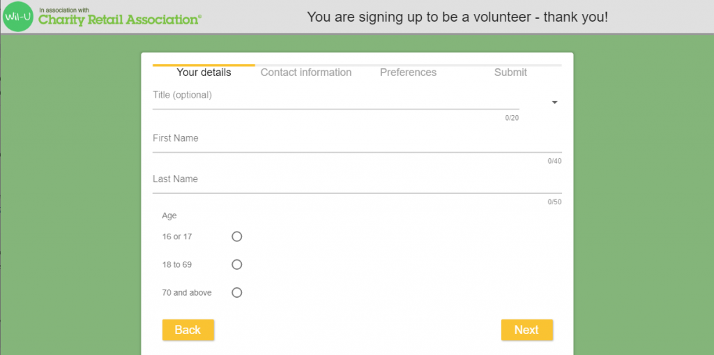 charity shop volunteer sign up